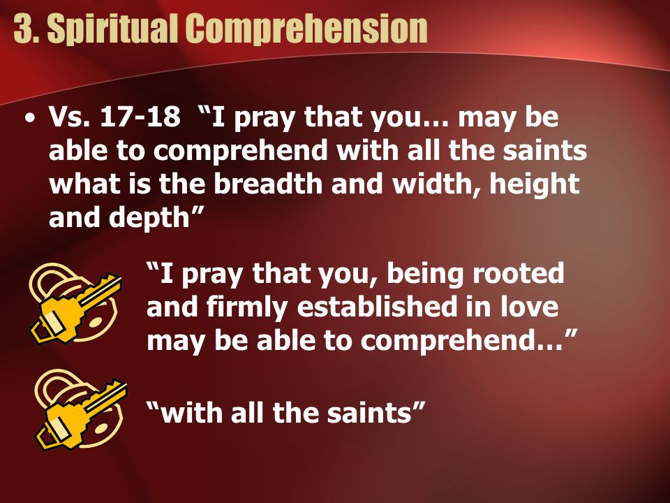 3.Spiritual Comprehension Vs.