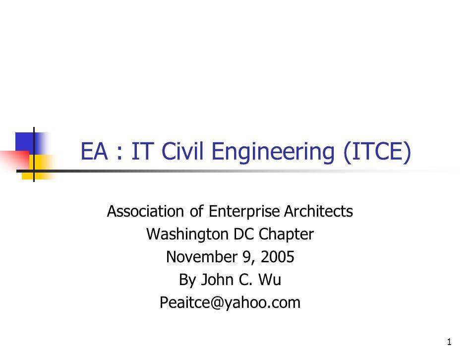 1 EA : IT Civil Engineering (ITCE) Association of Enterprise Architects Washington DC Chapter November 9, 2005 By John C.