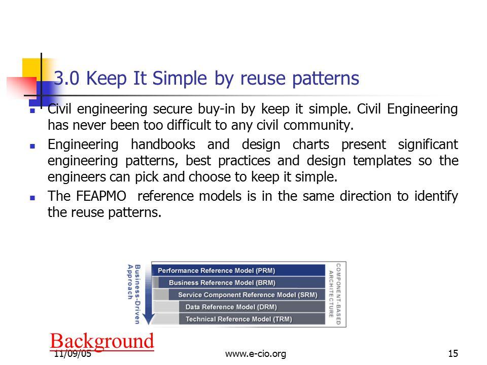 11/09/05www.e-cio.org15 3.0 Keep It Simple by reuse patterns Civil engineering secure buy-in by keep it simple.