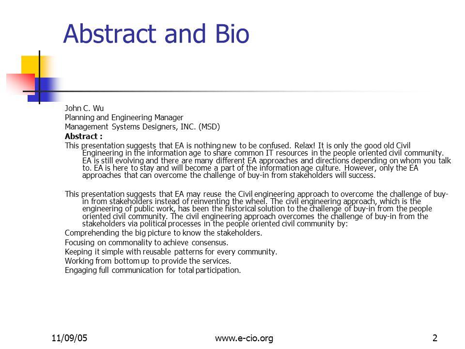 11/09/05www.e-cio.org2 Abstract and Bio John C.