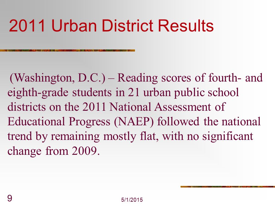 Average U.S.Reading Score Unchanged From 2000 There was no measurable change in the U.S.