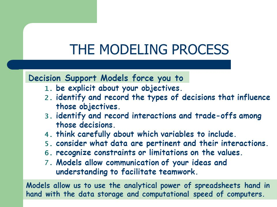 Decision Support Models force you to be explicit about your objectives. 1. identify and record the types of decisions that influence those objectives.