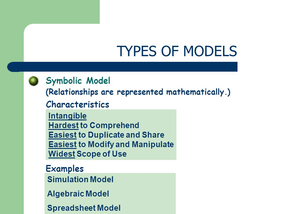 Symbolic Model (Relationships are represented mathematically.) TYPES OF MODELS Intangible Hardest to Comprehend Easiest to Duplicate and Share Easiest