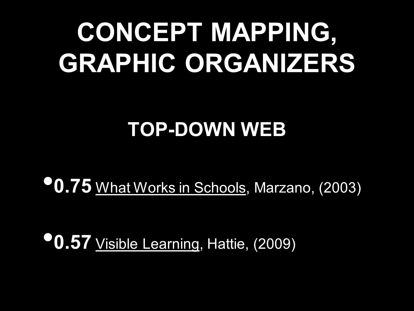 CONCEPT MAPPING, GRAPHIC ORGANIZERS TOP-DOWN WEB 0.75 What Works in Schools, Marzano, (2003) 0.57 Visible Learning, Hattie, (2009)