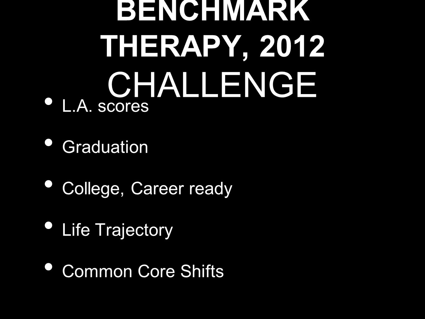 BENCHMARK THERAPY, 2012 CHALLENGE L.A. scores Graduation College, Career ready Life Trajectory Common Core Shifts