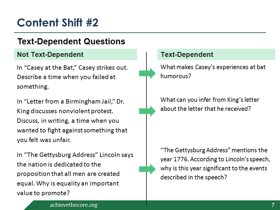 """achievethecore.org Content Shift #2 7 In """"Casey at the Bat,"""" Casey strikes out. Describe a time when you failed at something. In """"Letter from a Birmin"""