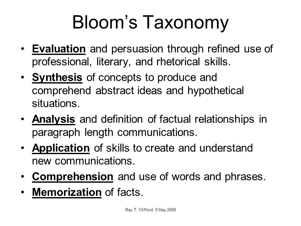 Bloom's Taxonomy Evaluation and persuasion through refined use of professional, literary, and rhetorical skills.