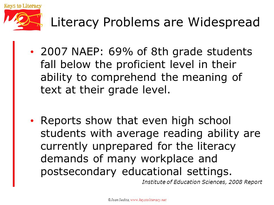 ©Joan Sedita, www.keystoliteracy.net Literacy Problems are Widespread 2007 NAEP: 69% of 8th grade students fall below the proficient level in their ability to comprehend the meaning of text at their grade level.