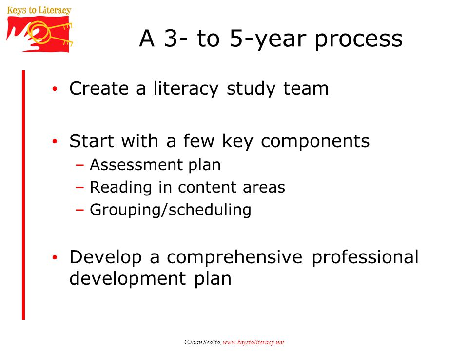 ©Joan Sedita, www.keystoliteracy.net A 3- to 5-year process Create a literacy study team Start with a few key components –Assessment plan –Reading in content areas –Grouping/scheduling Develop a comprehensive professional development plan