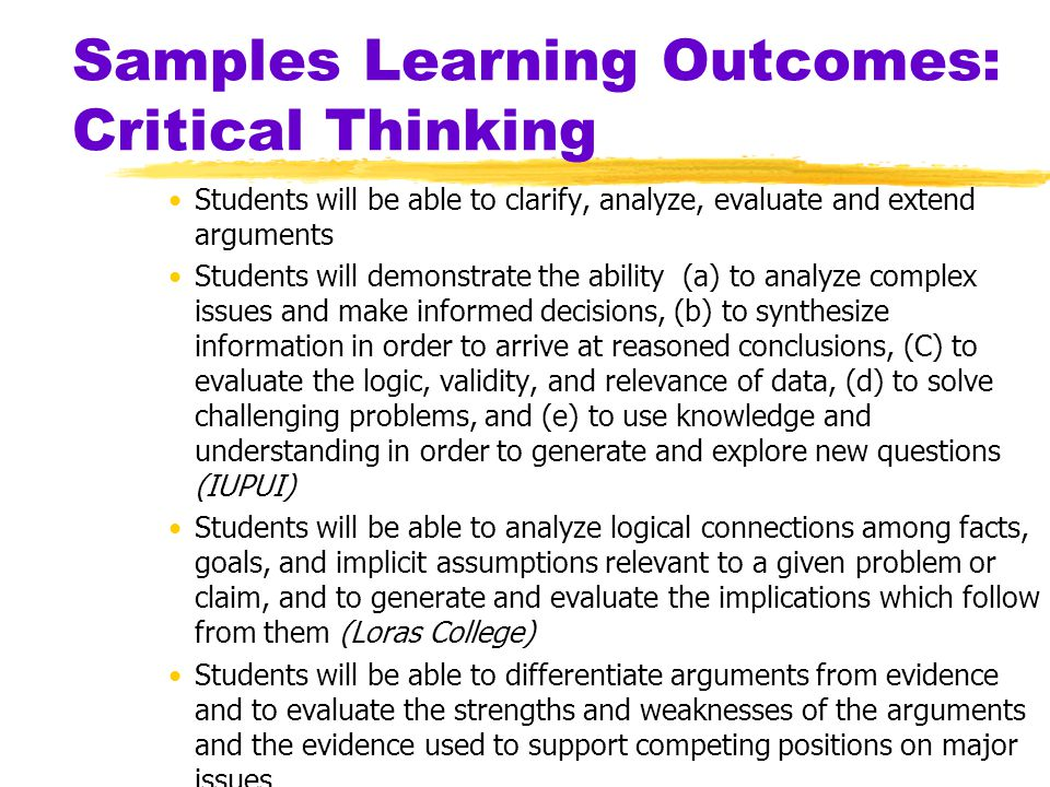 SNC General Education Program: Skills in Critical Thinking yCollege-Wide Goal(s) (SNC Catalog, p.