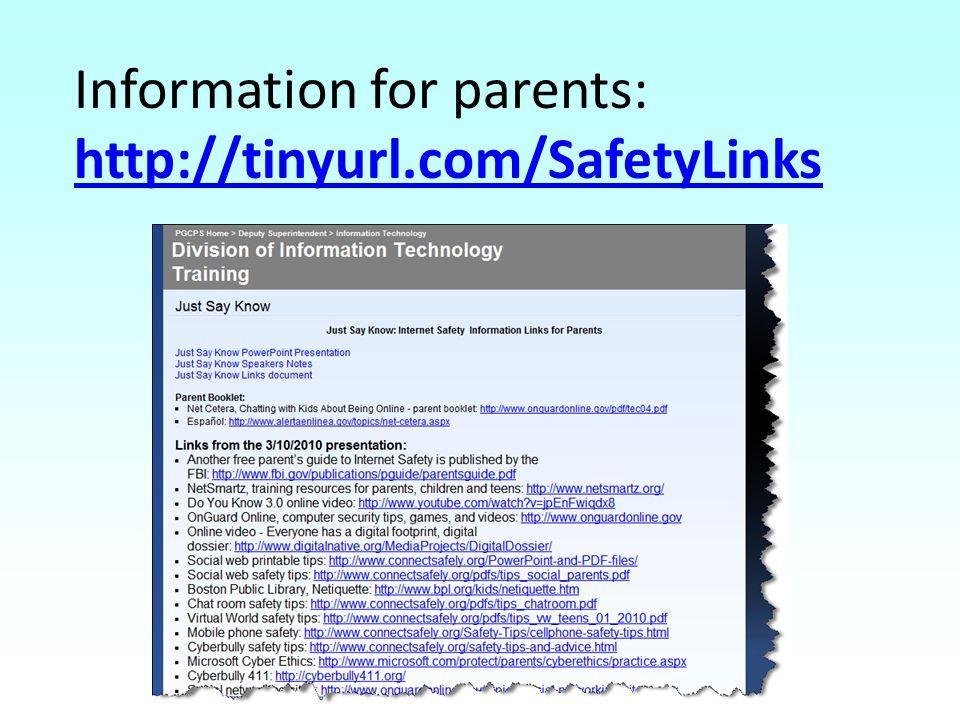 Information for parents: http://tinyurl.com/SafetyLinks