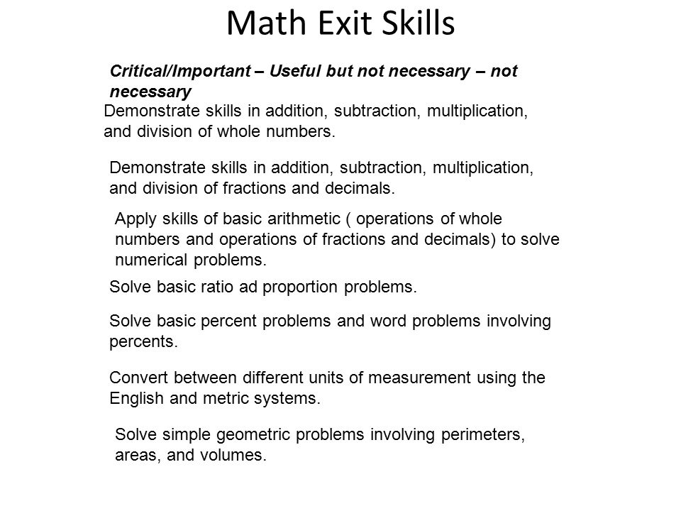 Math Exit Skills Demonstrate skills in addition, subtraction, multiplication, and division of whole numbers.