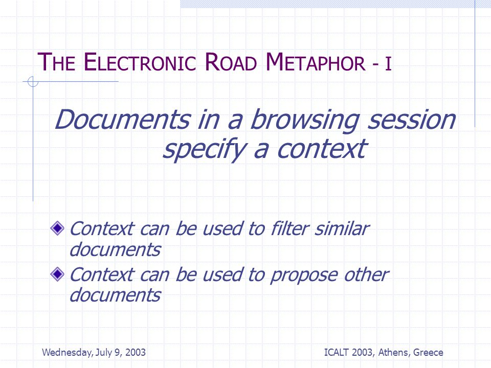 ICALT 2003, Athens, Greece Wednesday, July 9, 2003 T HE E LECTRONIC R OAD M ETAPHOR - I Documents in a browsing session specify a context Context can be used to filter similar documents Context can be used to propose other documents