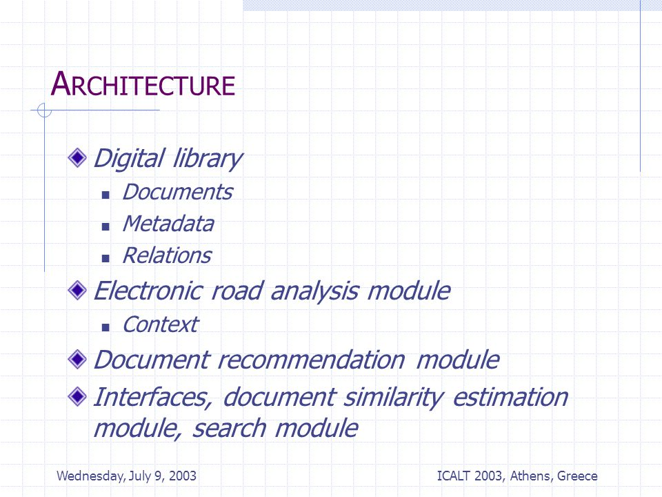 ICALT 2003, Athens, Greece Wednesday, July 9, 2003 A RCHITECTURE Digital library Documents Metadata Relations Electronic road analysis module Context Document recommendation module Interfaces, document similarity estimation module, search module