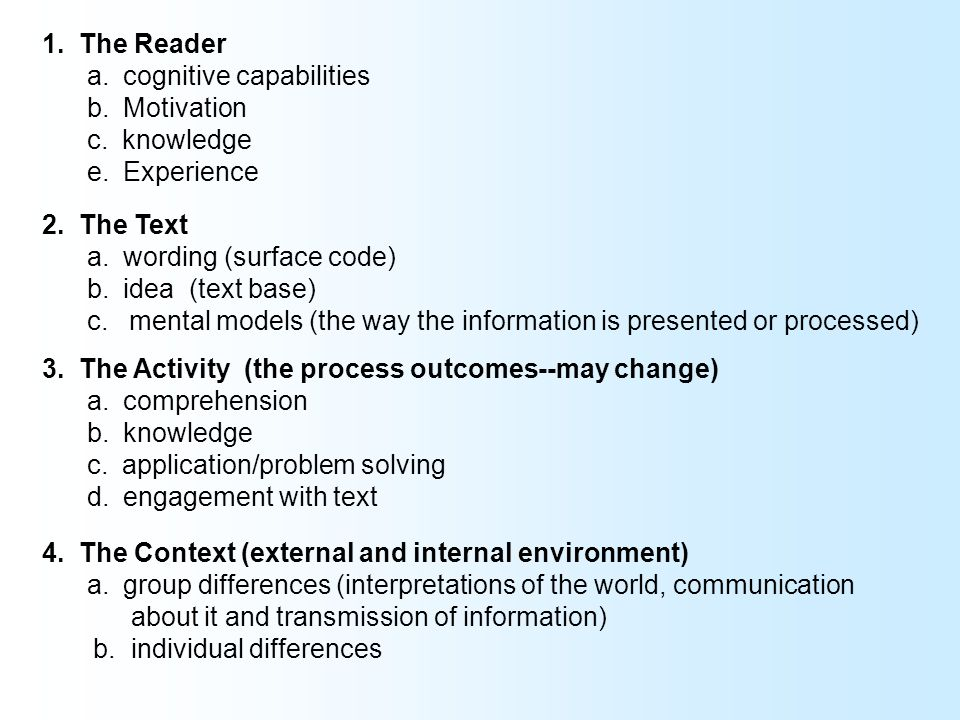 A proficient reader is capable of acquiring new knowledge, understanding new concepts, is capable of applying textual information appropriately, and is capable of being engaged in the reading process and reflect on what is being read.