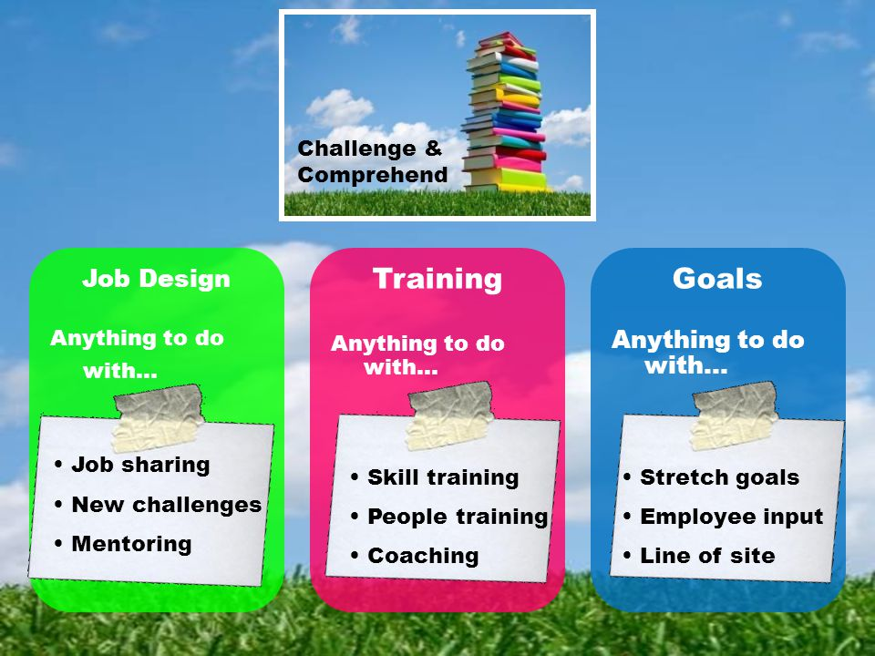 Challenge & Comprehend Job Design Anything to do with… Training Anything to do with… Goals Anything to do with… Skill training People training Coaching Stretch goals Employee input Line of site Job sharing New challenges Mentoring