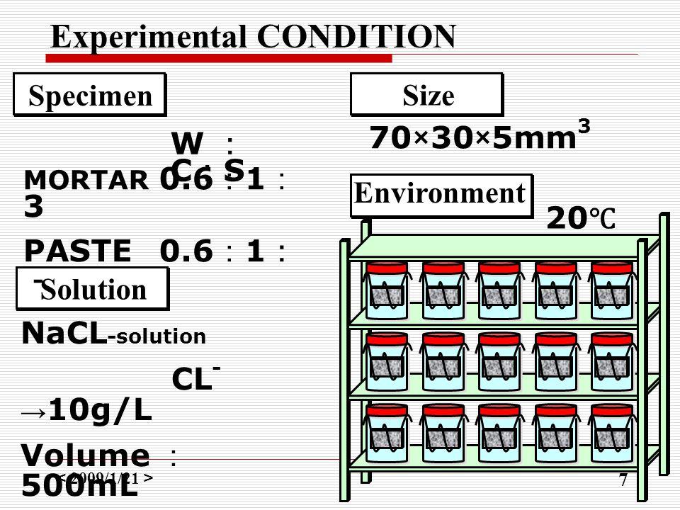 < 2009/1/21 > 7 Experimental CONDITION NaCL -solution CL - → 10g/L Volume : 500mL Solution Specimen MORTAR 0.6 : 1 : 3 PASTE0.6 : 1 : - W : C : S Size 70×30×5mm 3 Environment 20 ℃