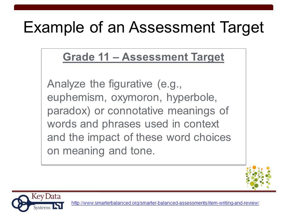 Example of an Assessment Target Grade 11 – Assessment Target Analyze the figurative (e.g., euphemism, oxymoron, hyperbole, paradox) or connotative mea