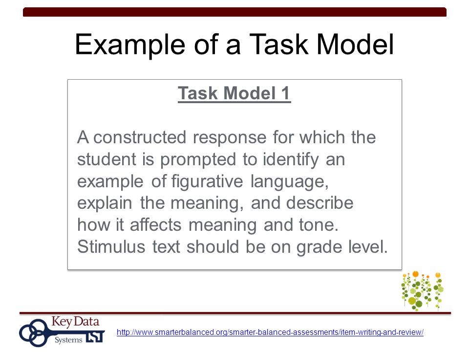 Example of a Task Model Task Model 1 A constructed response for which the student is prompted to identify an example of figurative language, explain t