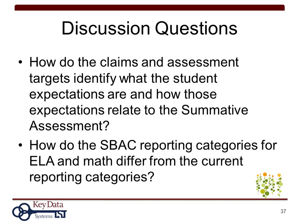 Discussion Questions How do the claims and assessment targets identify what the student expectations are and how those expectations relate to the Summ