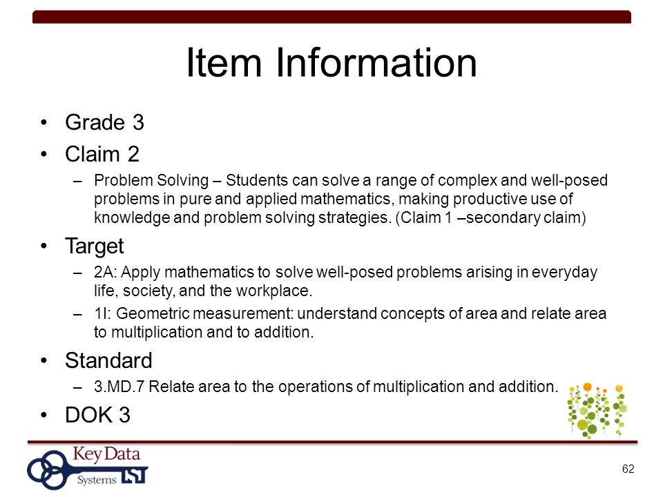 Item Information Grade 3 Claim 2 –Problem Solving – Students can solve a range of complex and well-posed problems in pure and applied mathematics, mak