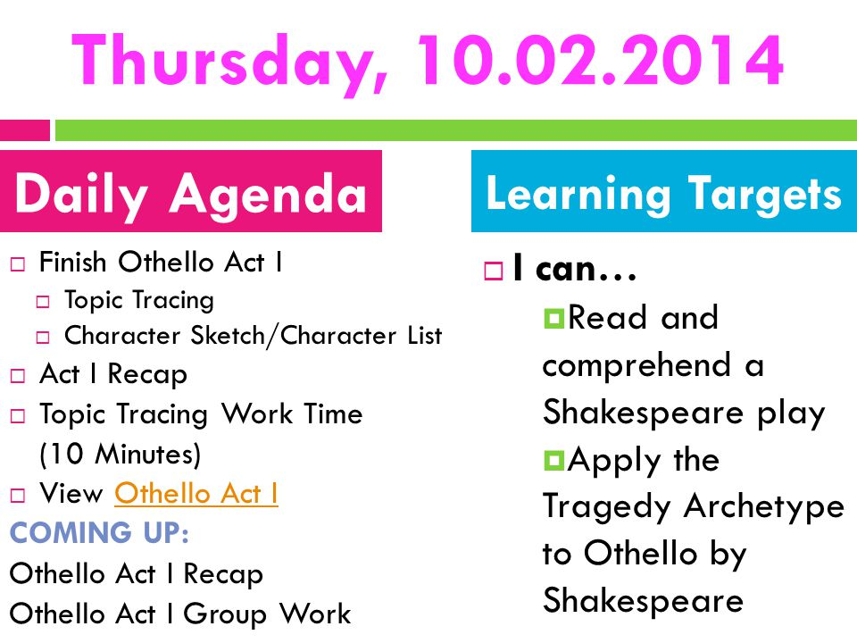 Thursday, 10.02.2014  Finish Othello Act I  Topic Tracing  Character Sketch/Character List  Act I Recap  Topic Tracing Work Time (10 Minutes)  V