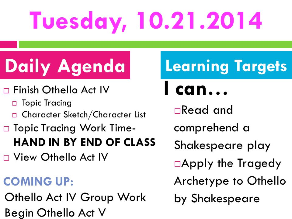 Tuesday, 10.21.2014  Finish Othello Act IV  Topic Tracing  Character Sketch/Character List  Topic Tracing Work Time- HAND IN BY END OF CLASS  Vie