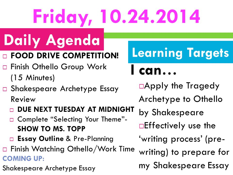 Friday, 10.24.2014  FOOD DRIVE COMPETITION!  Finish Othello Group Work (15 Minutes)  Shakespeare Archetype Essay Review  DUE NEXT TUESDAY AT MIDNI
