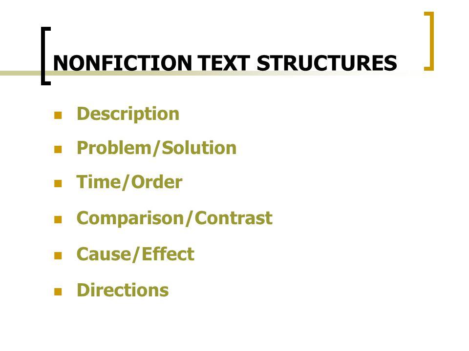 NONFICTION TEXT STRUCTURES Description Problem/Solution Time/Order Comparison/Contrast Cause/Effect Directions