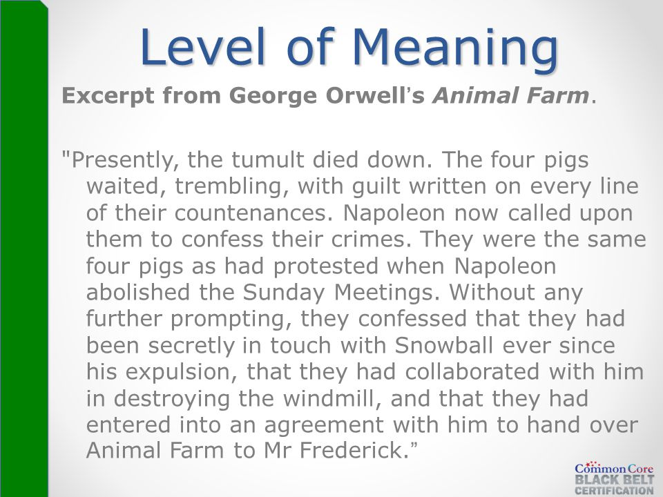 Level of Meaning Excerpt from George Orwell's Animal Farm.