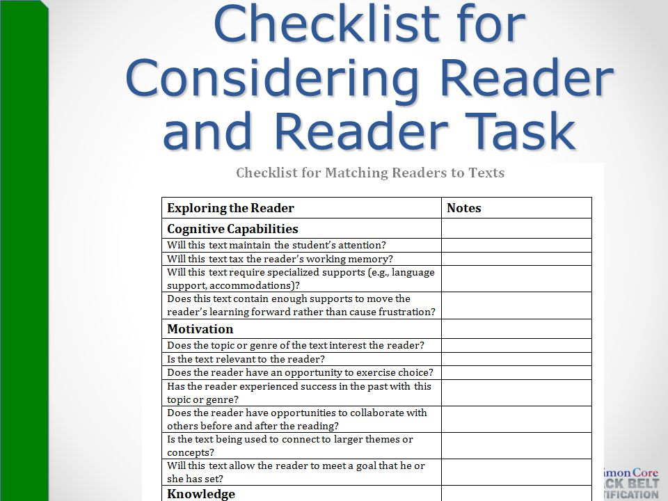 Checklist for Considering Reader and Reader Task