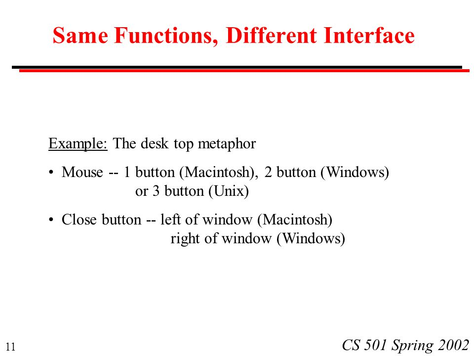 11 CS 501 Spring 2002 Same Functions, Different Interface Example: The desk top metaphor Mouse -- 1 button (Macintosh), 2 button (Windows) or 3 button