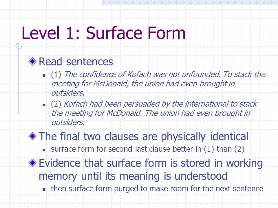 Level 1: Surface Form Read sentences (1) The confidence of Kofach was not unfounded.