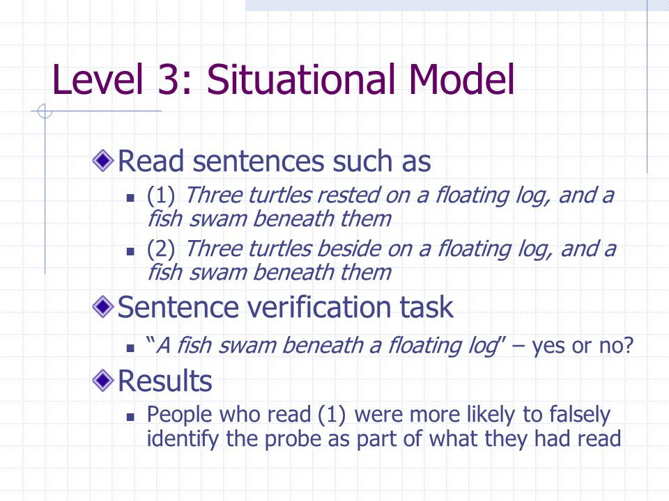 Level 3: Situational Model Read sentences such as (1) Three turtles rested on a floating log, and a fish swam beneath them (2) Three turtles beside on a floating log, and a fish swam beneath them Sentence verification task A fish swam beneath a floating log – yes or no.