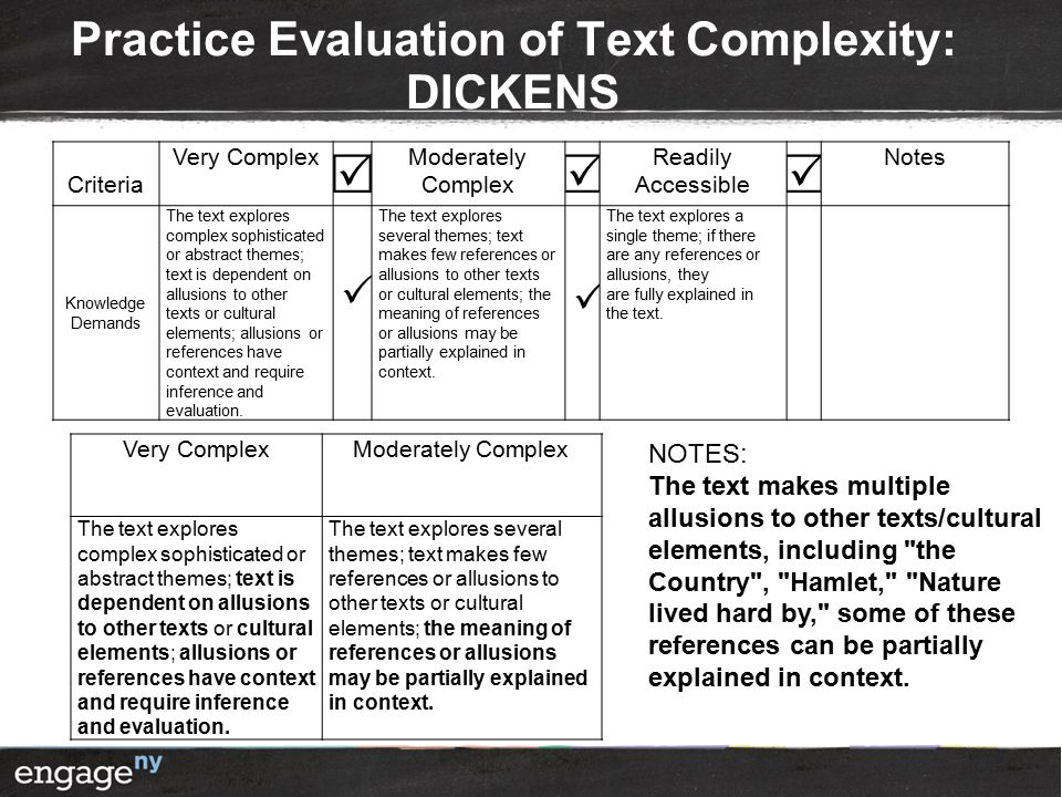 Practice Evaluation of Text Complexity: DICKENS Criteria Very Complex  Moderately Complex  Readily Accessible  Notes Knowledge Demands The text explores complex sophisticated or abstract themes; text is dependent on allusions to other texts or cultural elements; allusions or references have context and require inference and evaluation.