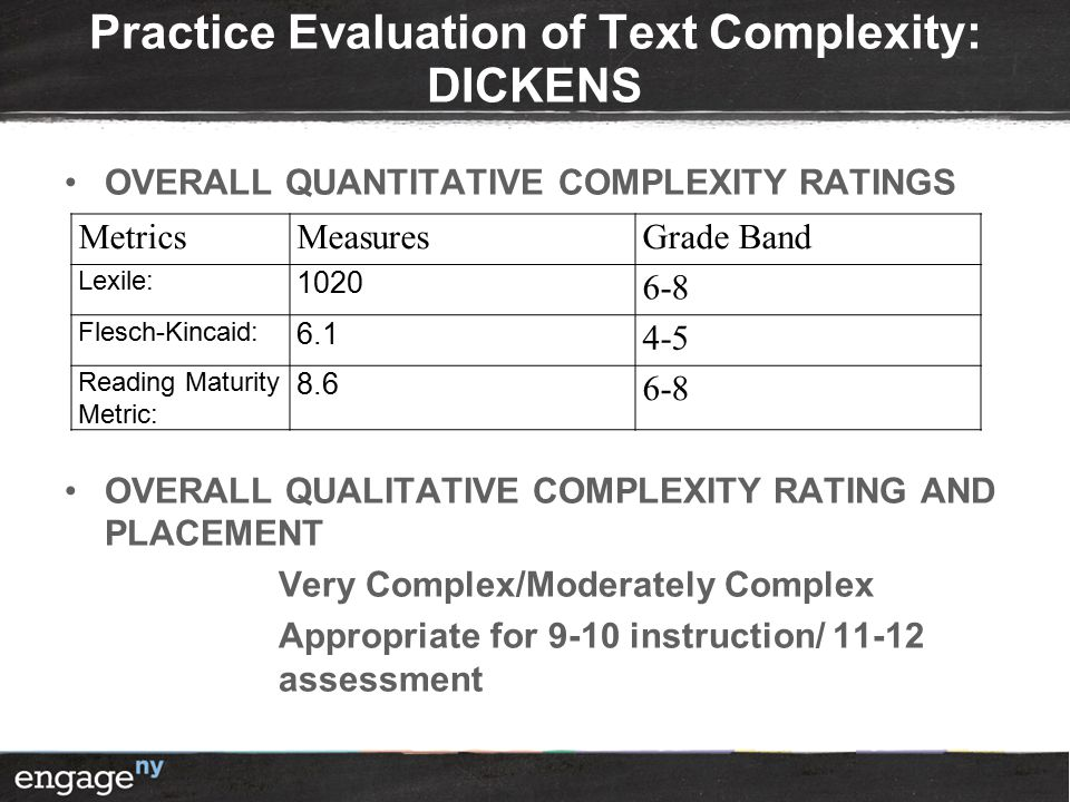 Practice Evaluation of Text Complexity: DICKENS OVERALL QUANTITATIVE COMPLEXITY RATINGS OVERALL QUALITATIVE COMPLEXITY RATING AND PLACEMENT Very Complex/Moderately Complex Appropriate for 9-10 instruction/ 11-12 assessment MetricsMeasuresGrade Band Lexile: 1020 6-8 Flesch-Kincaid: 6.1 4-5 Reading Maturity Metric: 8.6 6-8