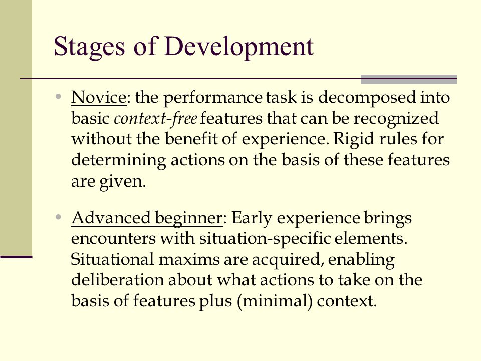 Stages of Development Novice: the performance task is decomposed into basic context-free features that can be recognized without the benefit of experience.