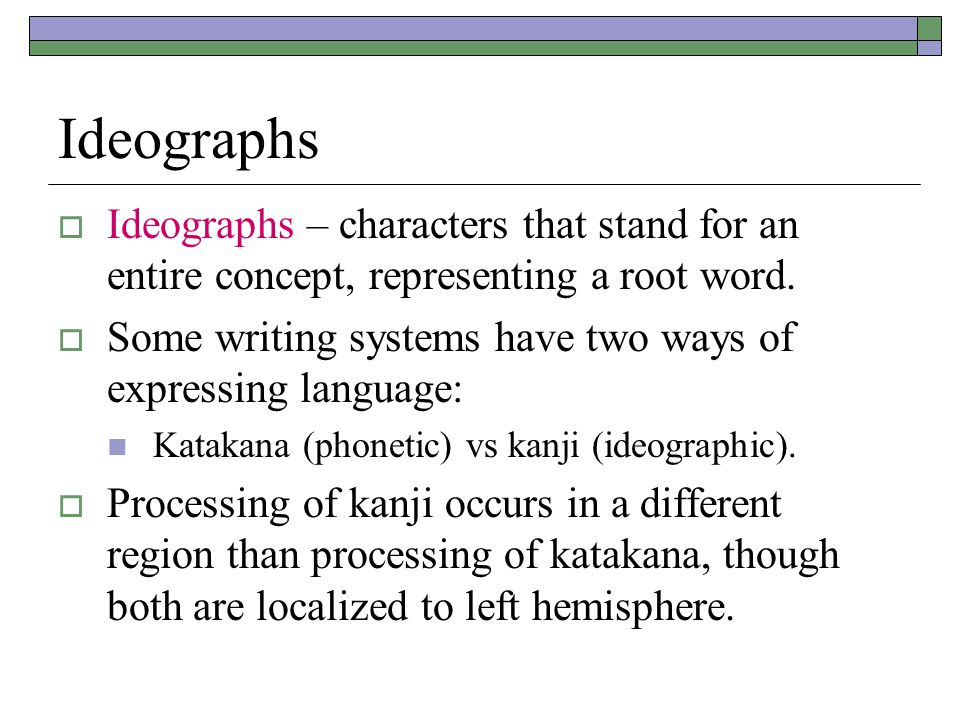 Ideographs  Ideographs – characters that stand for an entire concept, representing a root word.