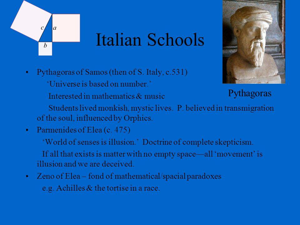 Italian Schools Pythagoras of Samos (then of S.