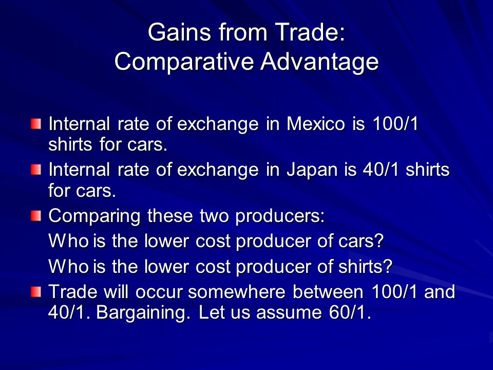Gains from Trade: Comparative Advantage Internal rate of exchange in Mexico is 100/1 shirts for cars.