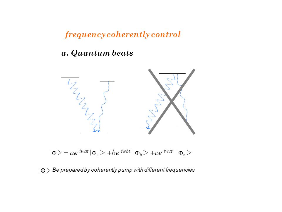 frequency coherently control a. Quantum beats   ae -iwat aa  be -iwbt bb  ce -iwct cc Be prepared by coherently pump with different frequen