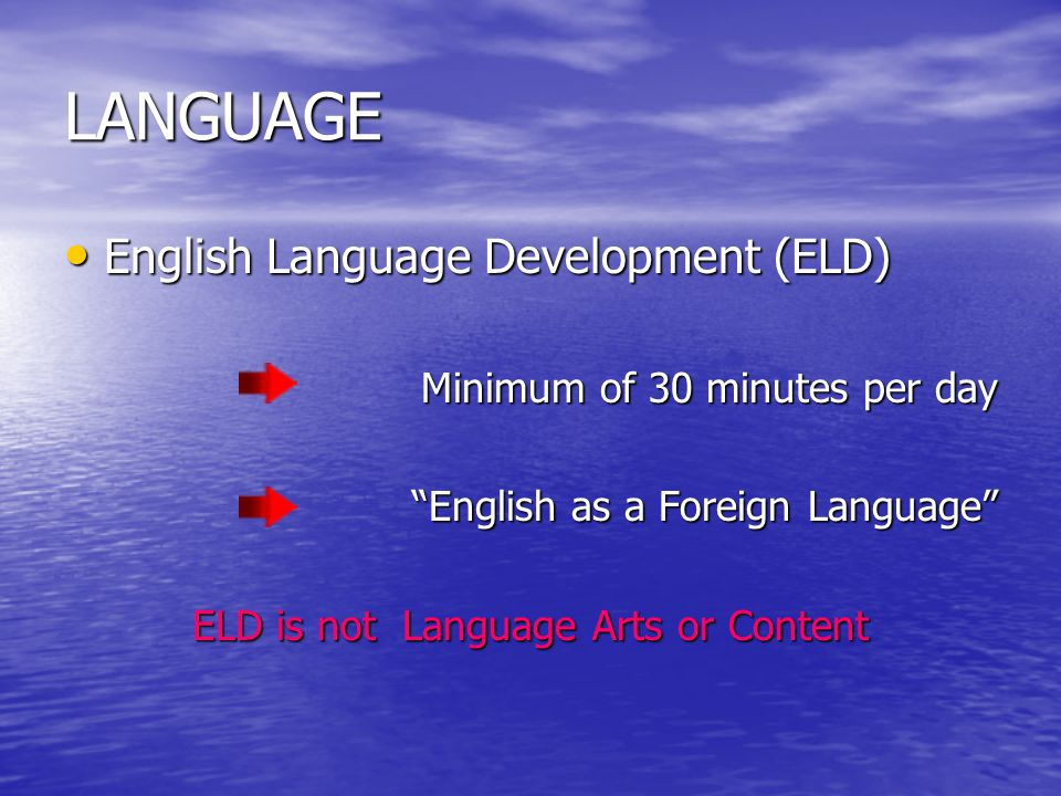 "LANGUAGE English Language Development (ELD) English Language Development (ELD) Minimum of 30 minutes per day ""English as a Foreign Language"" ELD is no"