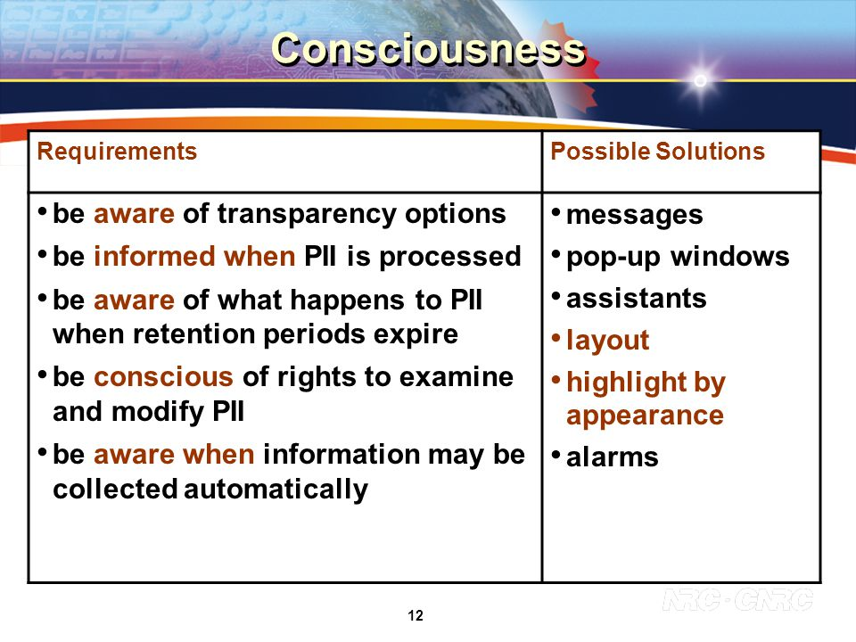 12 Consciousness RequirementsPossible Solutions be aware of transparency options be informed when PII is processed be aware of what happens to PII when retention periods expire be conscious of rights to examine and modify PII be aware when information may be collected automatically messages pop-up windows assistants layout highlight by appearance alarms