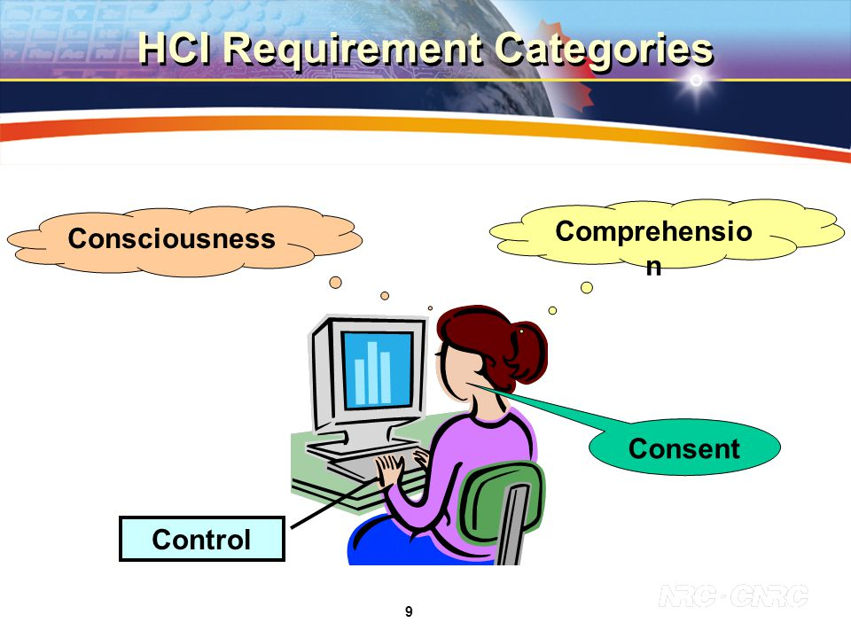 9 Comprehensio n Control Consent Consciousness HCI Requirement Categories