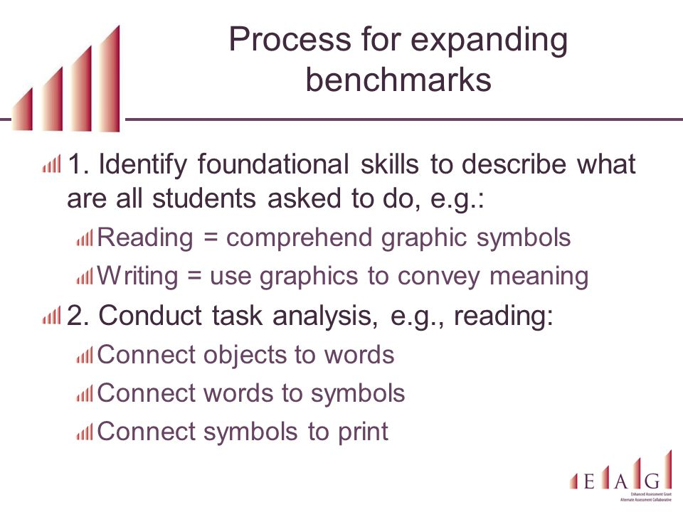 Process for expanding benchmarks 1. Identify foundational skills to describe what are all students asked to do, e.g.: Reading = comprehend graphic sym