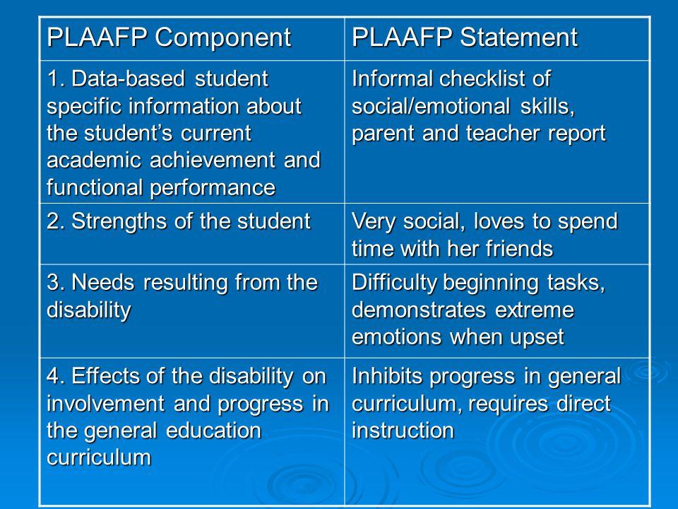 PLAAFP Component PLAAFP Statement 1.