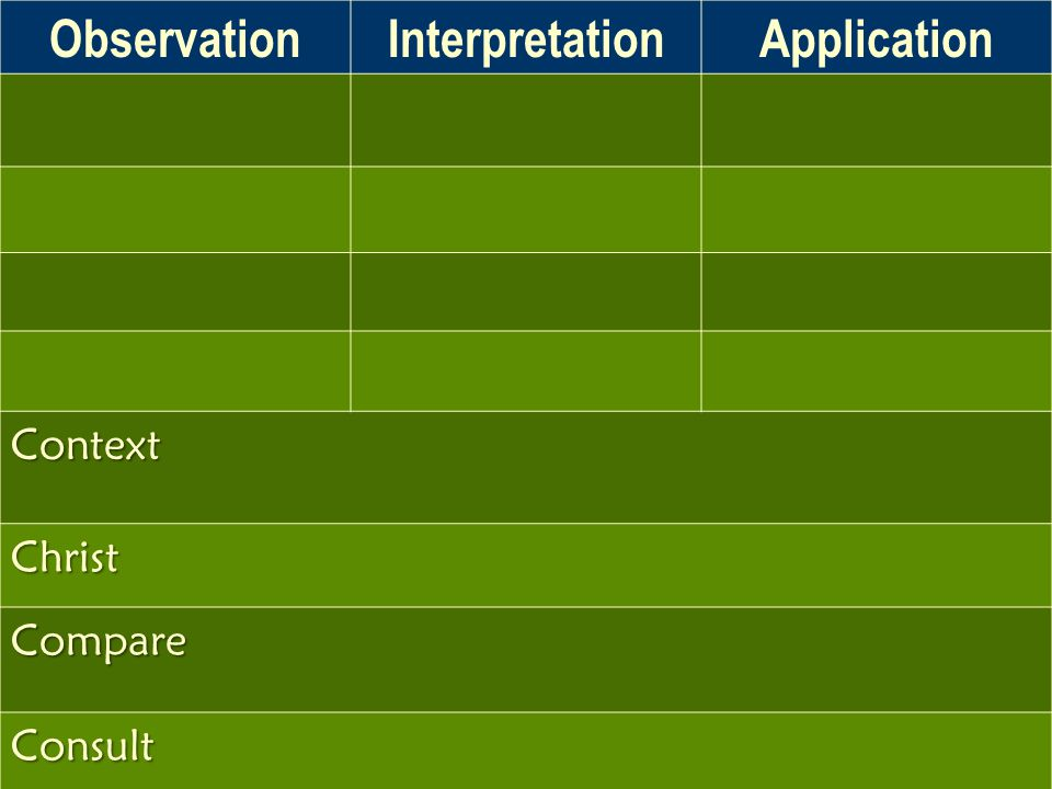 ObservationInterpretationApplication Context Christ Compare Consult