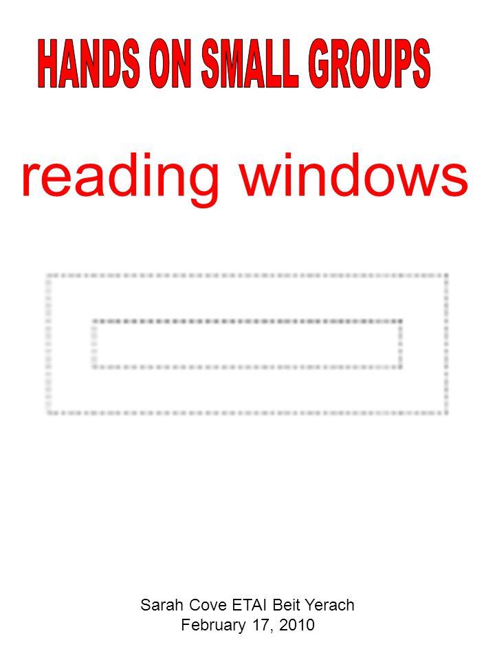 reading windows Sarah Cove ETAI Beit Yerach February 17, 2010