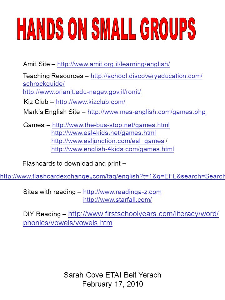 Amit Site – http://www.amit.org.il/learning/english/http://www.amit.org.il/learning/english/ Teaching Resources – http://school.discoveryeducation.com