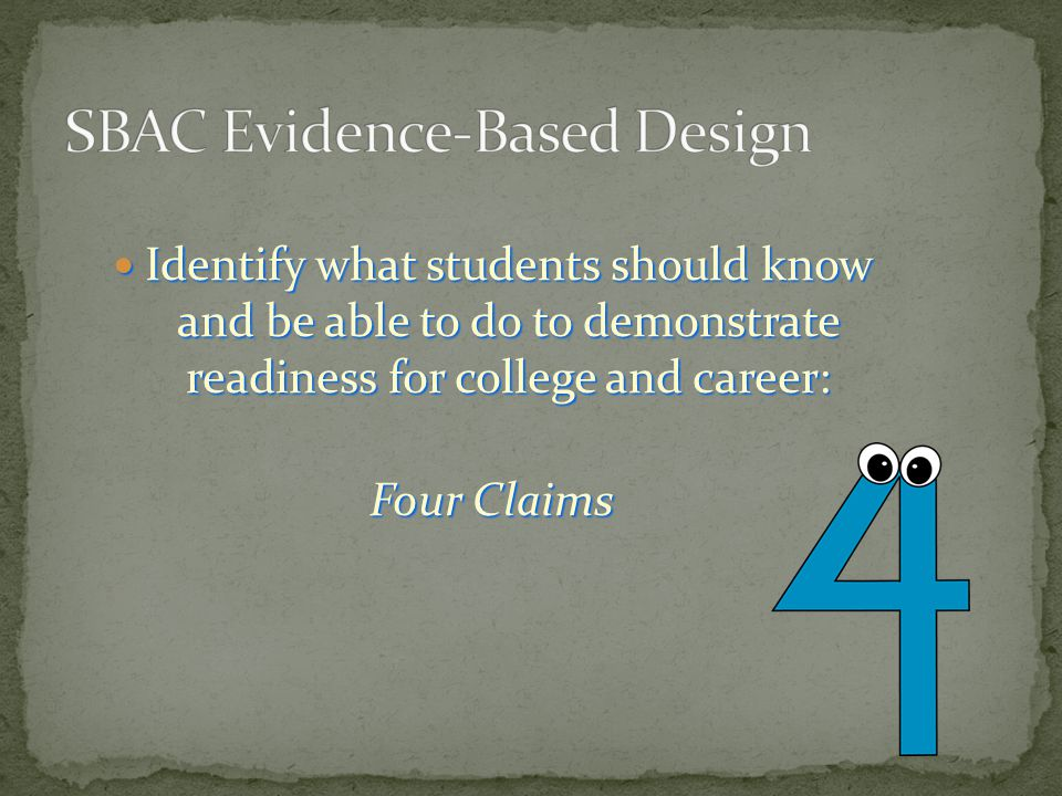 Identify what students should know and be able to do to demonstrate readiness for college and career: Identify what students should know and be able t